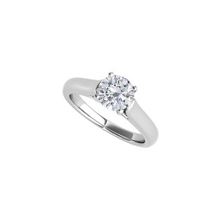 Fine Jewelry Vault Classic CZ Solitaire Engagement Ring 14K White Gold