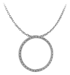 Fine Jewelry Vault Conflict Free Diamonds Circle Pendant in 14K White Gold