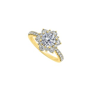 Fine Jewelry Vault Cubic Zirconia Floral in 14K Yellow Gold Engagement Ring