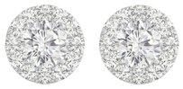 Fine Jewelry Vault Cubic Zirconia Halo Studs Earrings in 14K White Gold