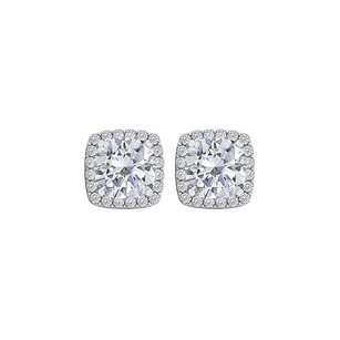 Fine Jewelry Vault Cubic Zirconia Square Halo Stud Earrings White Gold