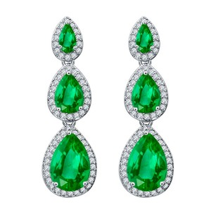 Fine Jewelry Vault CZ Green Gems Teardrop Journey Stud Earrings Push Back
