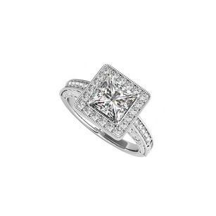 Fine Jewelry Vault CZ Square Halo Engagement Ring in 14K White Gold
