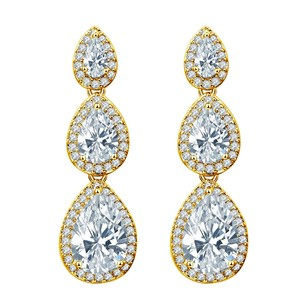 Fine Jewelry Vault CZ white Gems Teardrop Journey Stud Earrings Push Back