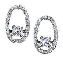 Fine Jewelry Vault Dancing Diamonds Earrings with Cubic Zirconia in 925 Sterling Silver