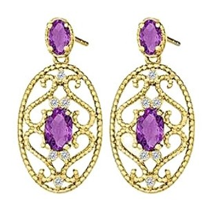 Fine Jewelry Vault Fancy Oval Amethysts and Round CZ Earrings in 14K Yellow Gold