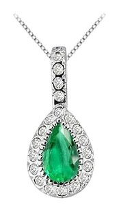 Fine Jewelry Vault Fashion Pendant Cubic Zirconia and Frosted Emerald Pear Shape in 14K White Gold 2.25 Carat TGW
