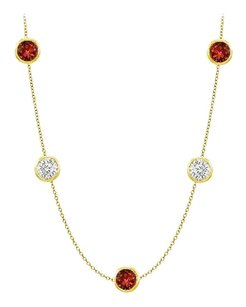 Fine Jewelry Vault Garnet and CZ in 14K Yellow Gold 50 Carat TGW with 36 Inch Long