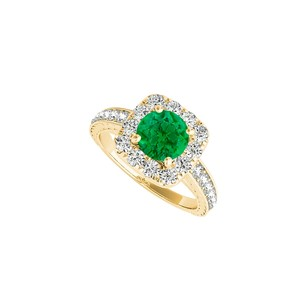 Fine Jewelry Vault Halo Ring with CZ and Emerald in 14K Yellow GoldW