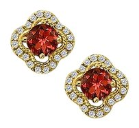 Fine Jewelry Vault January Birthstone Garnet with CZ Earrings in 14K Yellow Gold