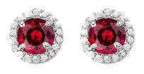 Fine Jewelry Vault July Birthstone Created Ruby and CZ Halo Stud Earrings