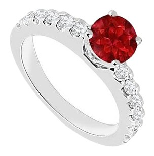 Fine Jewelry Vault July Birthstones Engagement Ring Rubies and Cubic Zirconia White Gold 14K with 1.00 CT TGW