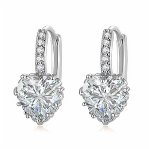 Fine Jewelry Vault New Sparkling Cubic Zirconia Heart Lever Back Earrings