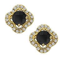 Fine Jewelry Vault Onyx with Cubic Zirconia Earrings in 14K Yellow Gold