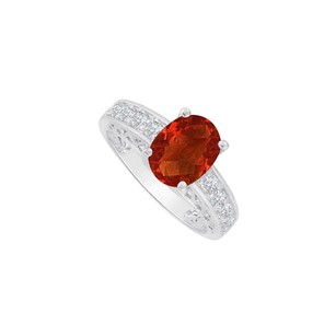 Fine Jewelry Vault Oval Garnet and Cubic Zirconia Ring in 14K White Gold