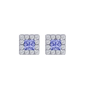 Fine Jewelry Vault Perfect Square Tanzanite CZ Halo Stud Earrings 14K Gold