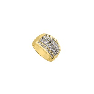 Fine Jewelry Vault Polished Yellow Gold 14K Fashion Cubic Zirconia Ring of 1.25 Carat
