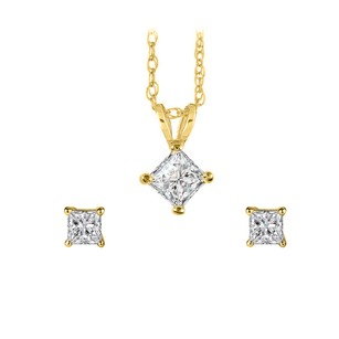 Fine Jewelry Vault Real Diamond Pendant Earrings Set in 14K Yellow Gold