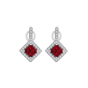 Fine Jewelry Vault Rhombus Square CZ Ruby Square Halo Earrings White Gold