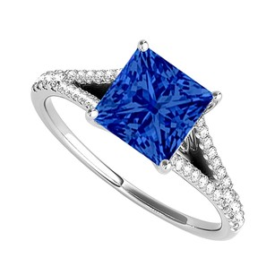Fine Jewelry Vault Sapphire and Cubic Zirconia Split Shank Ring in 14K White Gold