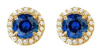 Fine Jewelry Vault Sapphire and CZ Halo Stud Earrings in 14kt Yellow Gold 2.25 CT TGW