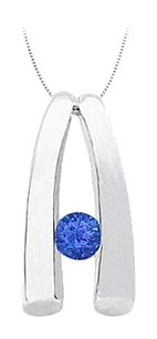 Fine Jewelry Vault Sapphire Pendant in 14kt White Gold 0.15 CT TGW.
