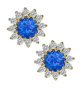 Fine Jewelry Vault Sapphire with CZ Earrings in 14K Yellow Gold
