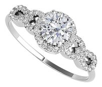 Fine Jewelry Vault White Gold Halo Design Ring with April Birthstone CZ