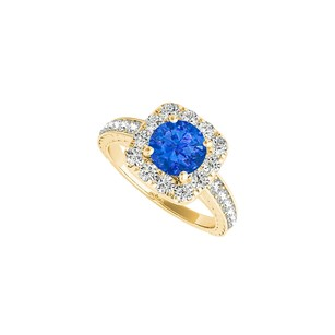 Fine Jewelry Vault Yellow Gold Halo Engagement Ring with Sapphire CZ