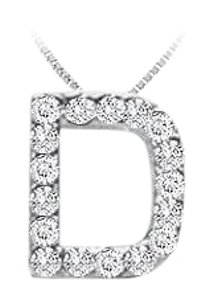 FineJewelryVault CZ Initial Sterling Silver D Pendant