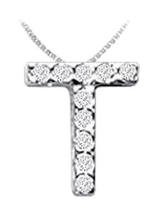 FineJewelryVault CZ Initial Sterling Silver T Pendant