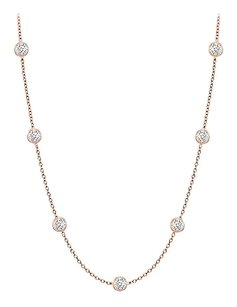 finejewelryvault Diamonds By The Yard Necklace in 14K Rose Gold Bezel Set 0.15 ct.tw
