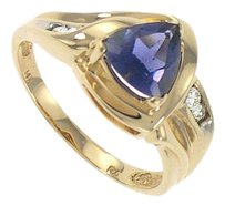 FineJewelryVault Iolite and Diamond Ring 14k Yellow Gold 1.00 CT TGW