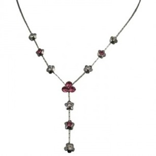 Flower Girl Necklace In Beautiful Rose Clear Crystals Flower Drop Down