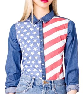 Forever 21 Button Down Shirt Blue jean red white and blue