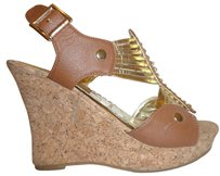 Forever 21 Nwt Wedge Tan and Gold Platforms