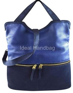 Fossil Leather Erin Messenger Crossbody Tote in Blue