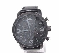 Fossil Fossil Jr1354 Nate Chronograph Black Leather Mens Watch