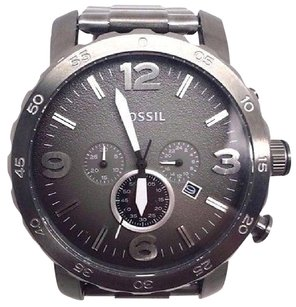 Fossil Fossil Jr1437 Mens Nate Chronograph Gray Dial Stainless Steel Push Button Broke