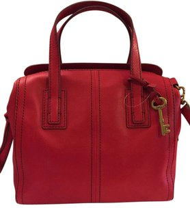 Fossil Leather Stylish Handbag Satchel in Crimson