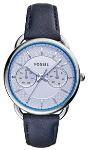 Fossil NEW! Fossil Women's Tailor Blue Leather Strap Watch 34mm
