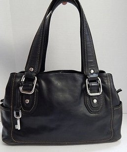 Fossil Leather Satchel in Black