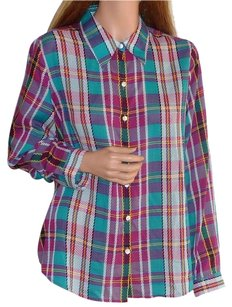 Foxcroft Wrinkle Free Check Plaid Button Down Shirt Multi-Color