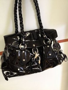 Francesco Biasia Patent Leather Braided Handle Tassel Mint Shoulder Bag