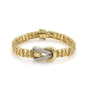 FRED Fred Paris Diamond 18k Two Tone Gold Sailor Knot Fancy Link Bracelet