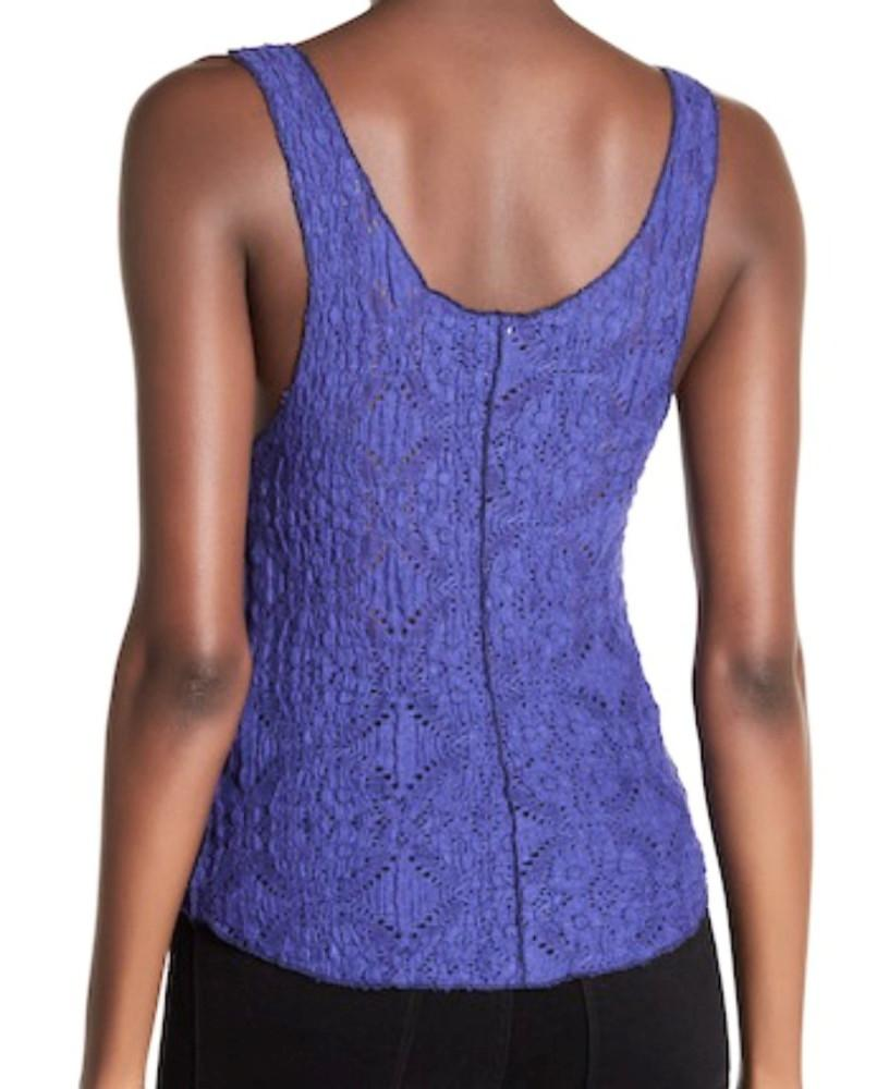 free people blue sheer lace camisole tank top  cami size 12
