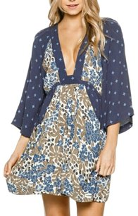 Free People short dress Blue Print Paisley Plunge on Tradesy