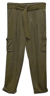 Free People A8 People Soft Rayon Belted Cargo Pants Army Green