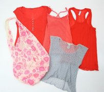 Free People Lot Of Includes Bag T Shirt Gray, Pink, Orange