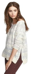 Free People Intarsia Boatneck Oversized Alpaca Floral Sweater